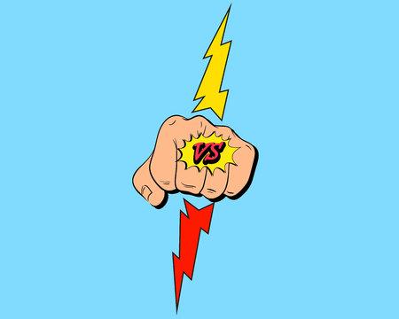 Versus letters punch fight backgrounds comics style design. Vector illustration