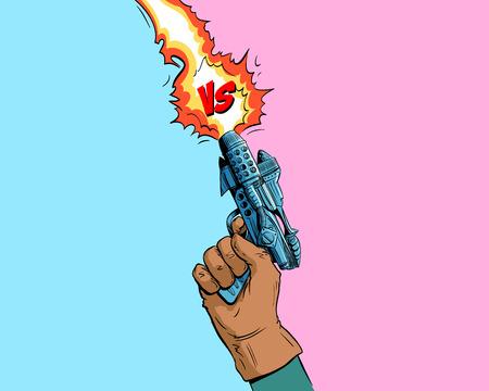 Versus letters fight backgrounds comics style design.Hand holds gun space blaster. Vector illustration Illustration