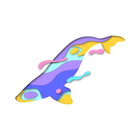 Paper cut whale shape 3D origami. Trendy concept fashion design. Vector illustration