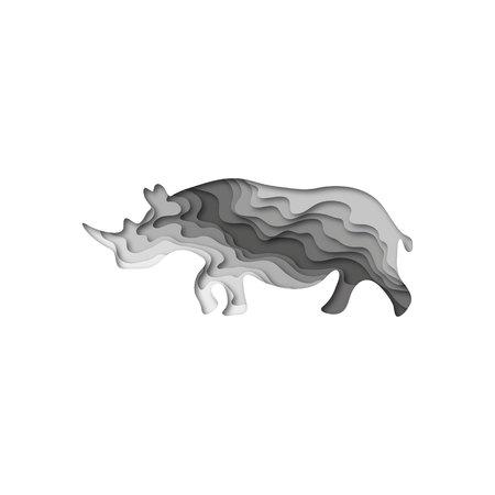 Paper cut rhinoceros, safari animals shape 3D origami. Trendy concept fashion design.