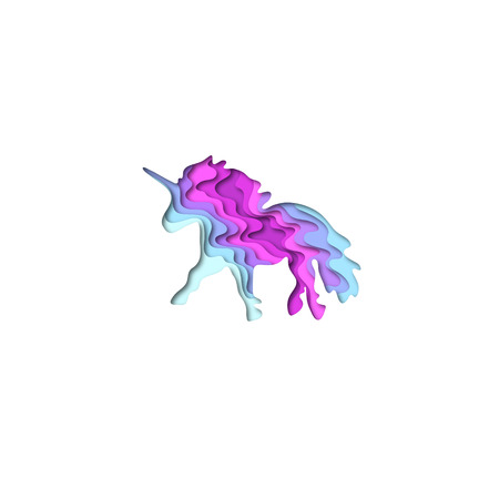 Paper cut shape unicorn 3D origami. Trendy concept fashion design. Vector illustration Illustration