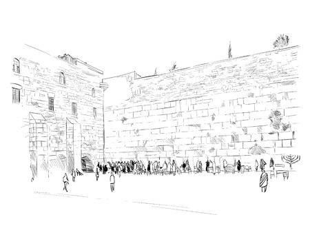 Israel. Jerusalem. Wall of Tears. Hand drawn sketch. Vector illustration. Иллюстрация