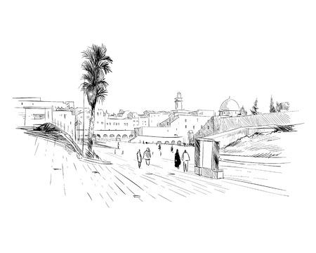Israel. Jerusalem. Wall of Tears. Hand drawn sketch. Vector illustration. Vectores
