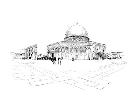 Israele. Gerusalemme. Monte del tempio. Cupola della roccia. Schizzo disegnato a mano. Illustrazione vettoriale.