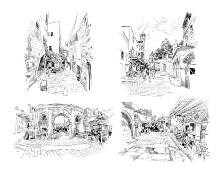 Israele. Set di strade di Gerusalemme. Schizzo disegnato a mano. Illustrazione vettoriale.