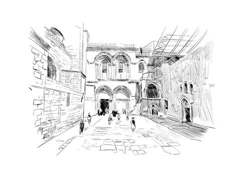 Israel. Streets of Jerusalem. Hand drawn sketch. Vector illustration.