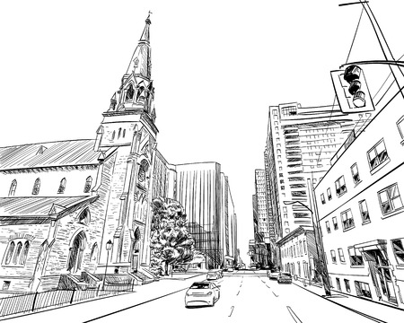 Ottawa. Canada. Hand drawn. Unusual Street sketch, vector illustration Illusztráció