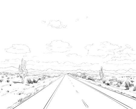 Desierto de América del Norte Arizona. Chihuahuense. Ilustración de vector de boceto dibujado a mano. Ilustración de vector