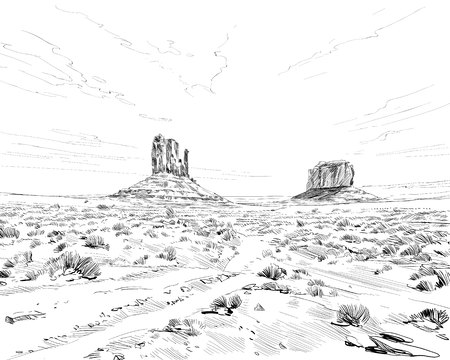 Desert of North America Arizona. Chihuahuan. Hand drawn sketch vector illustration. Çizim