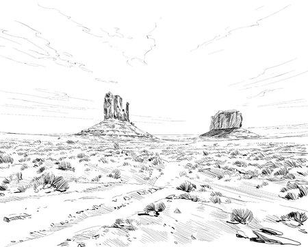 Desierto de América del Norte Arizona. Chihuahuense. Ilustración de vector de boceto dibujado a mano.