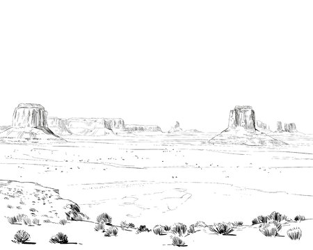 Desert of North America Arizona. Chihuahuan. Hand drawn sketch vector illustration.