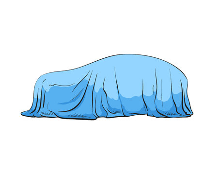Car presentation of a new model is covered with a cloth. Hand drawn sketch design. Vector illustration. Ilustrace