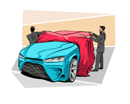 Car presentation of a new model is covered with a cloth. Hand drawn sketch design. Vector illustration. 矢量图像