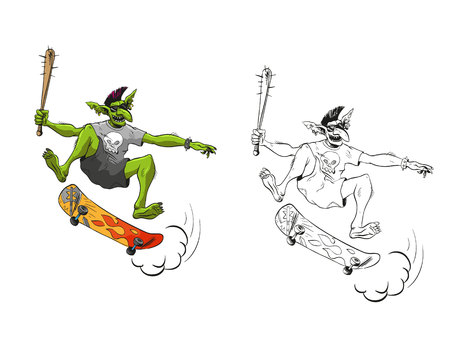 Troll jumps on a skateboard. Design fashion printing for clothes. Sketch vector illustration.