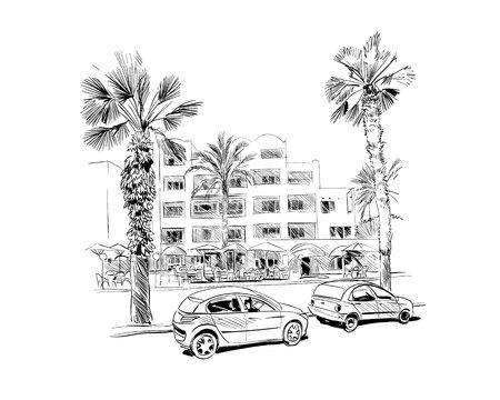 Medina Susa. Tunisia. North Africa. Hand drawn vector illustration. Ilustração Vetorial