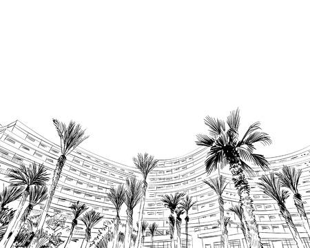Medina Susa. Tunisia. North Africa. Hand drawn vector illustration. Illustration