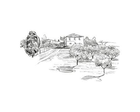 Rural landscape. Farm sketch hand drawn vector illustration.