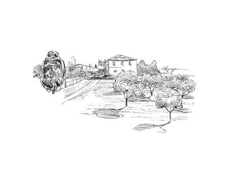 Rural landscape. Farm sketch hand drawn vector illustration.