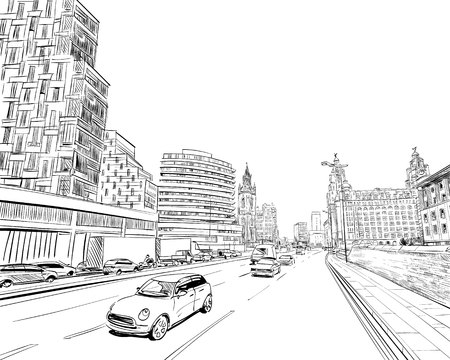 Liverpool. England. United Kingdom of Great Britain. Urban sketch. Hand drawn vector illustration Illustration