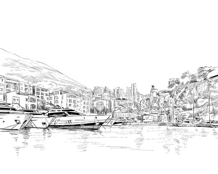 Monaco. South of Europe. Hand drawn sketch. Vector illustration.