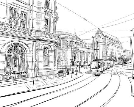 Manchester. Engeland. Verenigd Koninkrijk van Groot-Brittannië. Stedelijke schets. Hand getekende vector illustratie