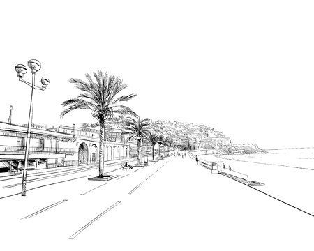 Francia. Lindo. Promenade des Anglais. Boceto dibujado a mano. Ilustración de vector.