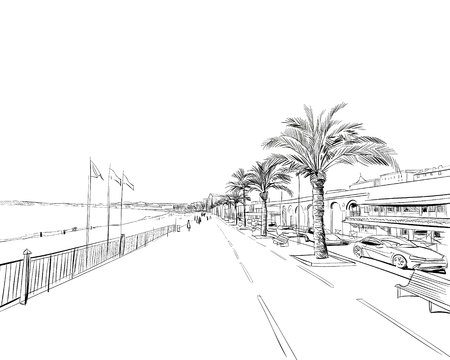 France. Nice. Promenade des Anglais. Hand drawn sketch. Vector illustration. Vettoriali