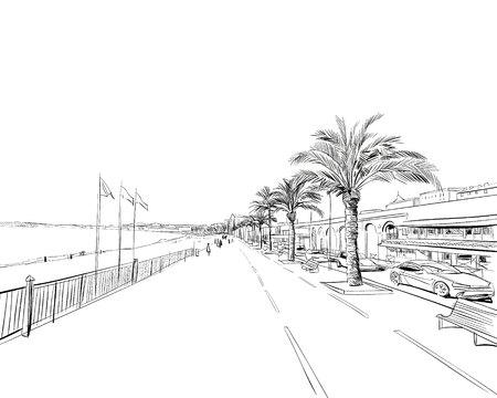 Francia. Lindo. Promenade des Anglais. Boceto dibujado a mano. Ilustración vectorial. Ilustración de vector
