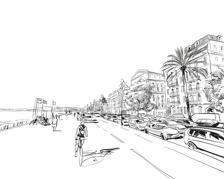 France. Nice. Promenade des Anglais. Hand drawn sketch. Vector illustration. Vectores