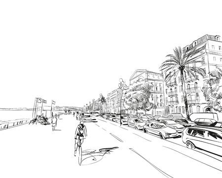 France. Nice. Promenade des Anglais. Hand drawn sketch. Vector illustration. Illustration