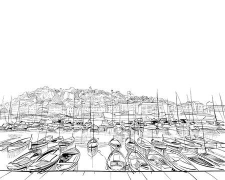 Francia. Agradable. puerto viejo. Boceto dibujado a mano. Ilustración vectorial