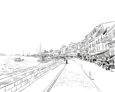 Francia. Agradable. Costo de Azure. Boceto dibujado a mano. Ilustración vectorial
