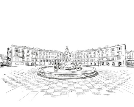 France. Nice. Fountain du Soleil on place Massena. Hand drawn sketch. Vector illustration.