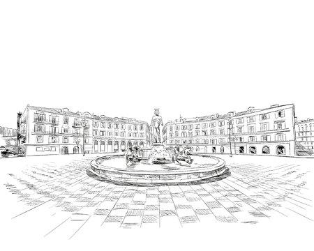 Francia. Lindo. Fountain du Soleil en place Massena. Boceto dibujado a mano. Ilustración de vector. Ilustración de vector