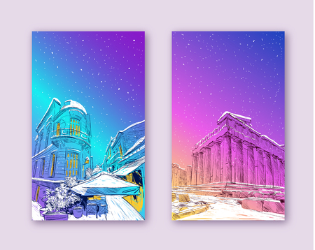 Trendy cover template. Winter city. Merry Christmas and New Year card design. Acropolis of Athens. The Parthenon. Athens. Greece. Europe. Hand drawn sketch. Vector illustration.