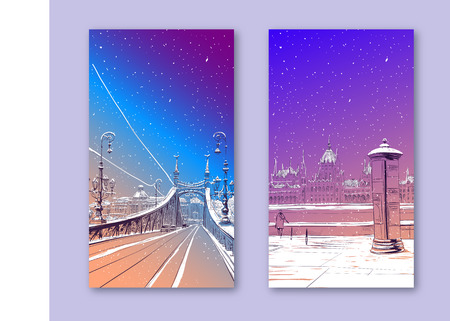 Trendy cover template. Winter city. Merry Christmas and New Year card design. The Bridge of Freedom. Budapest. Hungary. Europe. Hand drawn vector illustration.