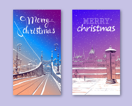Trendy cover template. Winter city. Merry Christmas and New Year card design. The Bridge of Freedom. Budapest. Hungary. Europe. Hand drawn vector illustration. Stock fotó - 113437854