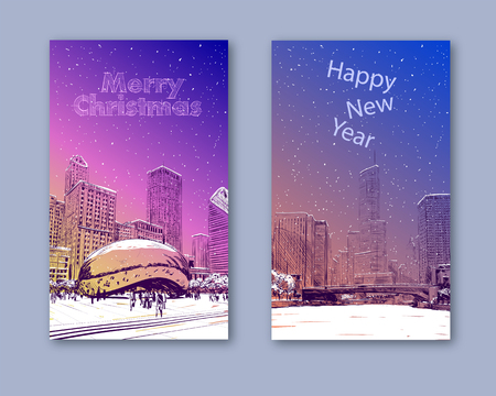Trendy cover template. Winter city. Merry Christmas and New Year card design. Chicago. USA. Hand drawn. Street sketch, vector illustration Illusztráció