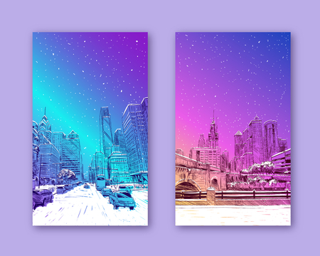 Trendy cover template. Winter city. Merry Christmas and New Year card design. Philadelphia. Pennsylvania USA. Hand drawn.Unusual Street sketch, vector illustration