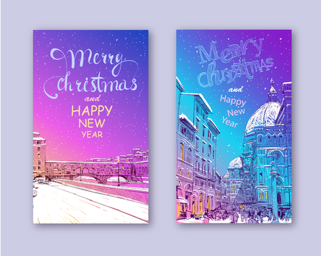 Trendy cover template. Winter city. Merry Christmas and New Year card design. Ponte Vecchio Florence. Santa Maria del Fiore Florence Italy. Hand drawn city sketch. Vector illustration.