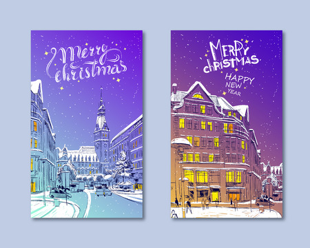 Trendy cover template. Winter city. Merry Christmas and New Year card design. Hamburg Town Hall. Germany. Hand drawn sketch. Vector illustration. Иллюстрация
