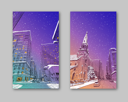 Trendy cover template. Winter city. Merry Christmas and New Year card design. Ottawa. Canada. Hand drawn. Unusual Street sketch, vector illustration