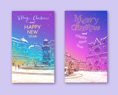 Trendy cover template. Winter city. Merry Christmas and New Year card design. France. Lyon. The Cathedral of Saint-Jean John the Baptist. Main Cathedral of Lyon