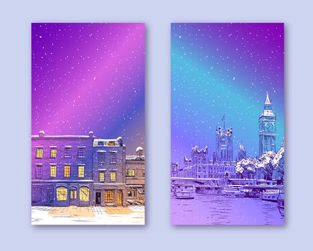 Modèle de couverture à la mode. Ville d'hiver. Conception de cartes de joyeux Noël et nouvel an. Londres Grande-Bretagne.