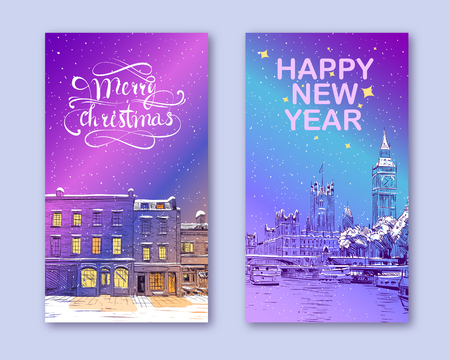 Trendy cover template. Winter city. Merry Christmas and New Year card design. London Great Britain.  イラスト・ベクター素材