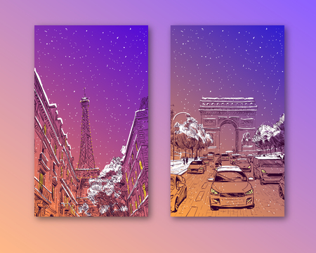 Trendy cover template. Winter city. Merry Christmas and New Year card design.Eiffel Tower, Triumphal Arch Paris, France. Hand drawn vector illustration  イラスト・ベクター素材