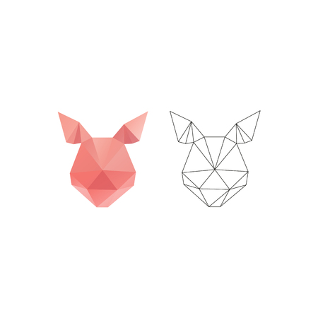 Pig head triangle polygon design. Abstract shapes isolated on a white backgrounds, vector illustration. Ilustração