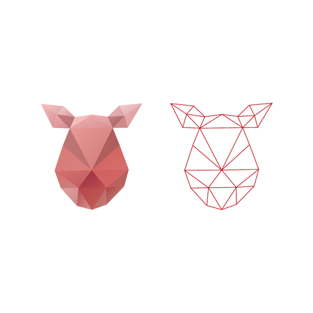 Pig head triangle polygon design. Abstract shapes isolated on a white backgrounds, vector illustration.