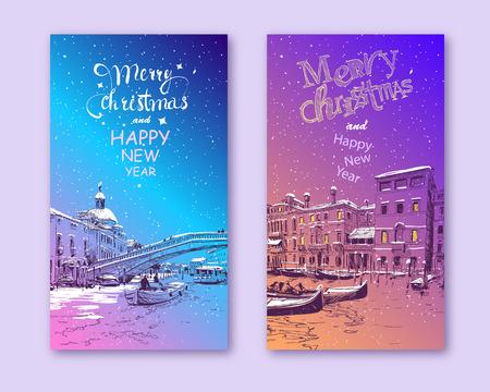 Trendige Cover-Vorlage. Winterstadt. Frohe Weihnachten und Neujahr Kartendesign. Italien. Venedig. Hand gezeichnete Skizzenvektorillustration