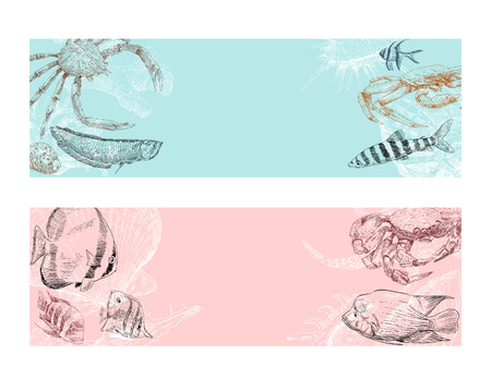 Seafood, fish, corals and seashells template banner set. Restaurant and cafe menu hand drawn sketch. Ticket to the aquarium design backgrounds. Vector Illustration